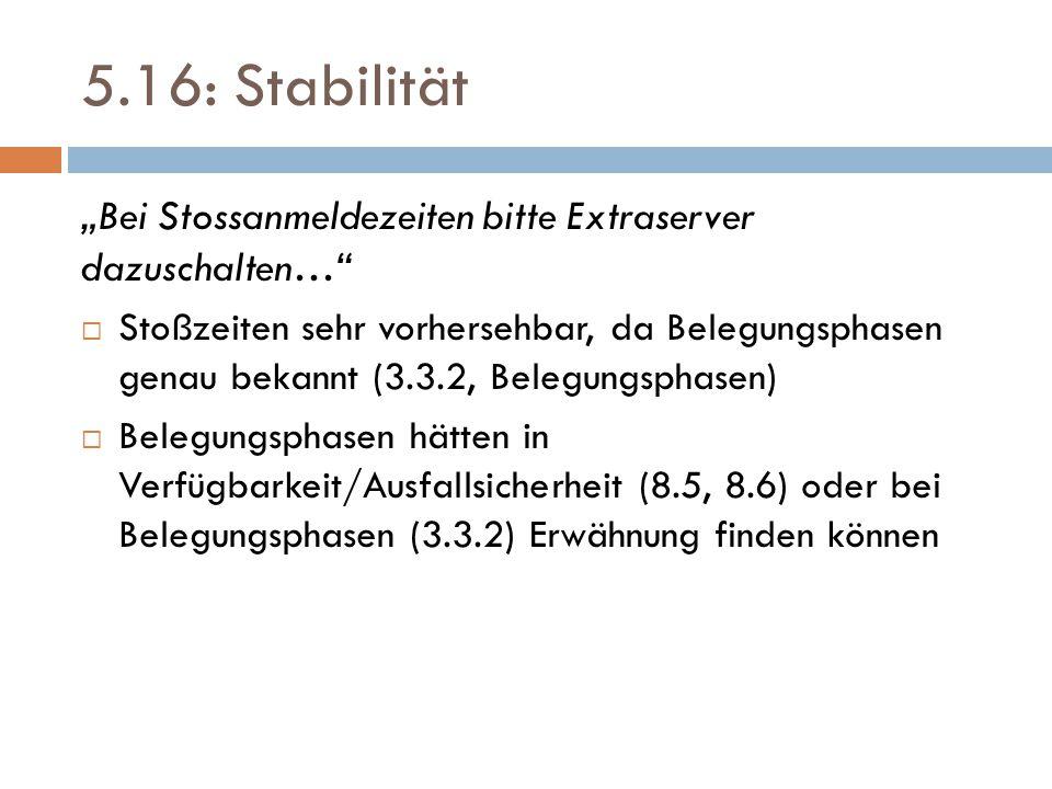 """5.16: Stabilität """"Bei Stossanmeldezeiten bitte Extraserver dazuschalten…  Stoßzeiten sehr vorhersehbar, da Belegungsphasen genau bekannt (3.3.2, Belegungsphasen)  Belegungsphasen hätten in Verfügbarkeit/Ausfallsicherheit (8.5, 8.6) oder bei Belegungsphasen (3.3.2) Erwähnung finden können"""