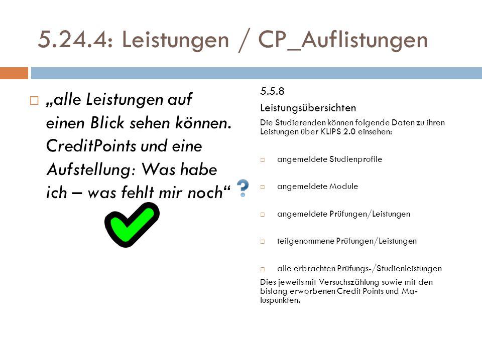 """5.24.4: Leistungen / CP_Auflistungen  """"alle Leistungen auf einen Blick sehen können."""