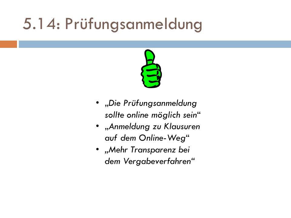 """5.14: Prüfungsanmeldung """"Die Prüfungsanmeldung sollte online möglich sein"""" """"Anmeldung zu Klausuren auf dem Online-Weg"""" """"Mehr Transparenz bei dem Verga"""
