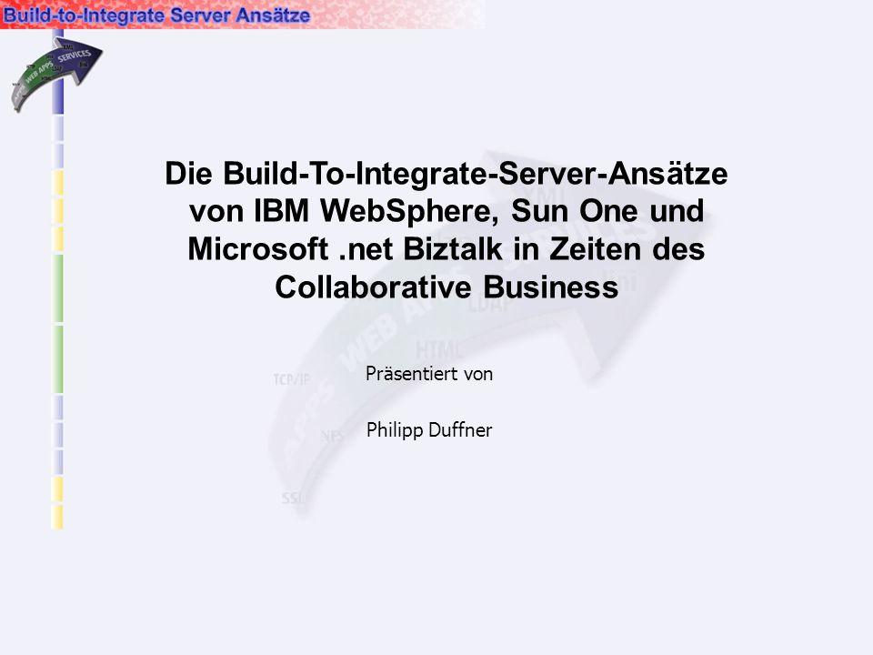 Präsentiert von Philipp Duffner Die Build-To-Integrate-Server-Ansätze von IBM WebSphere, Sun One und Microsoft.net Biztalk in Zeiten des Collaborative