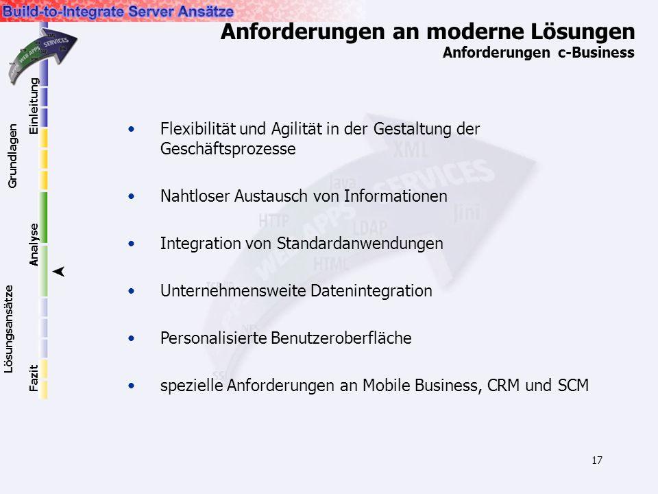 17 Anforderungen an moderne Lösungen Anforderungen c-Business Flexibilität und Agilität in der Gestaltung der Geschäftsprozesse Nahtloser Austausch vo
