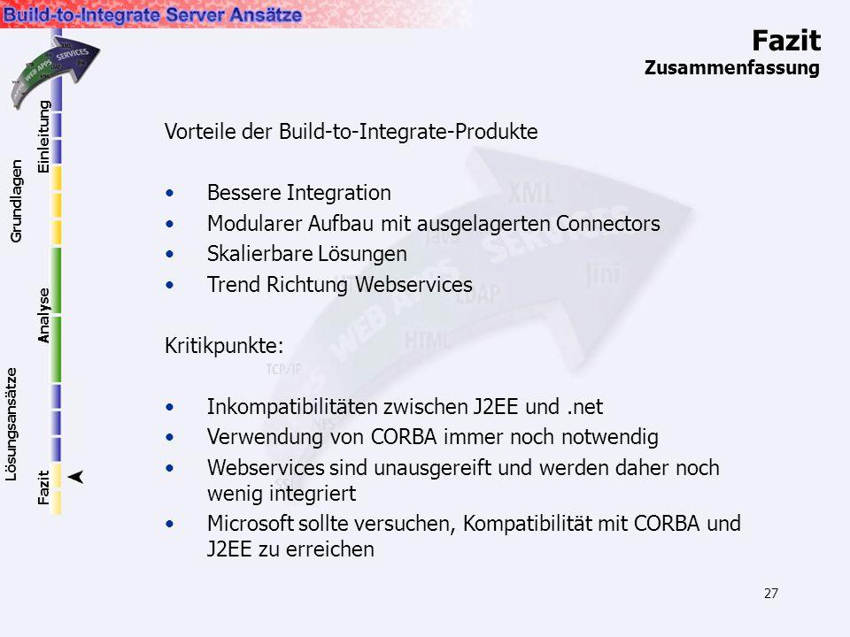 27 Fazit Zusammenfassung Vorteile der Build-to-Integrate-Produkte Bessere Integration Modularer Aufbau mit ausgelagerten Connectors Skalierbare Lösung