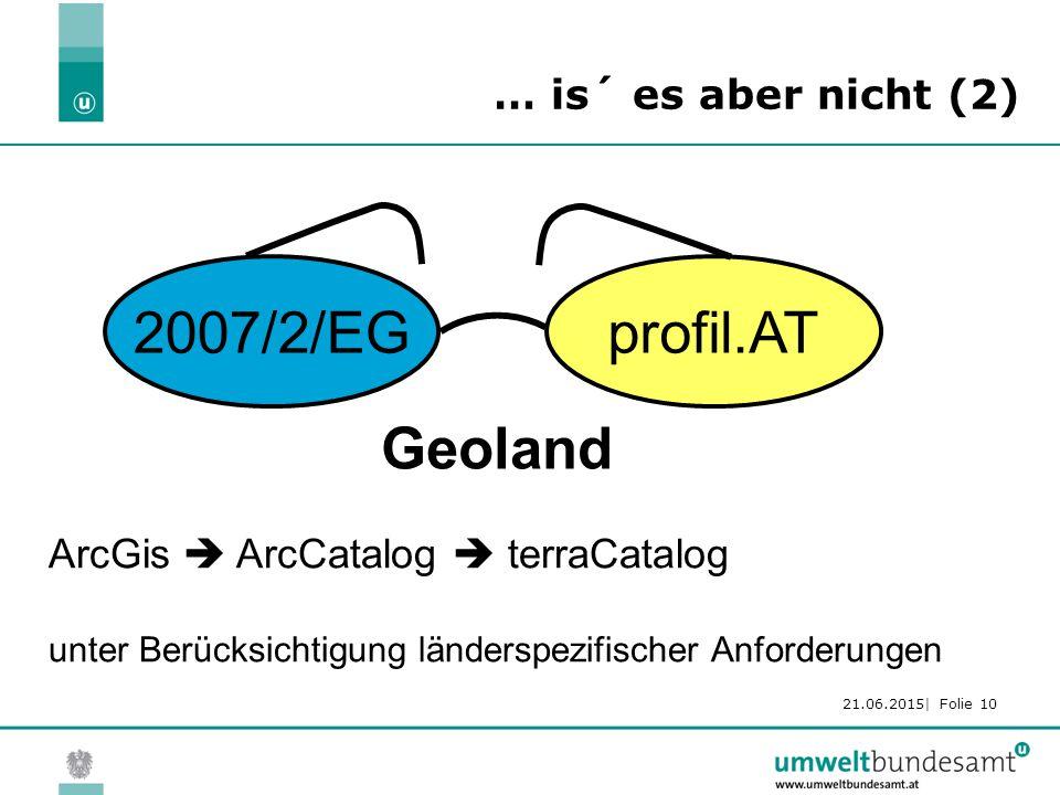 21.06.2015| Folie 10 2007/2/EGprofil.AT Geoland ArcGis  ArcCatalog  terraCatalog unter Berücksichtigung länderspezifischer Anforderungen … is´ es aber nicht (2)