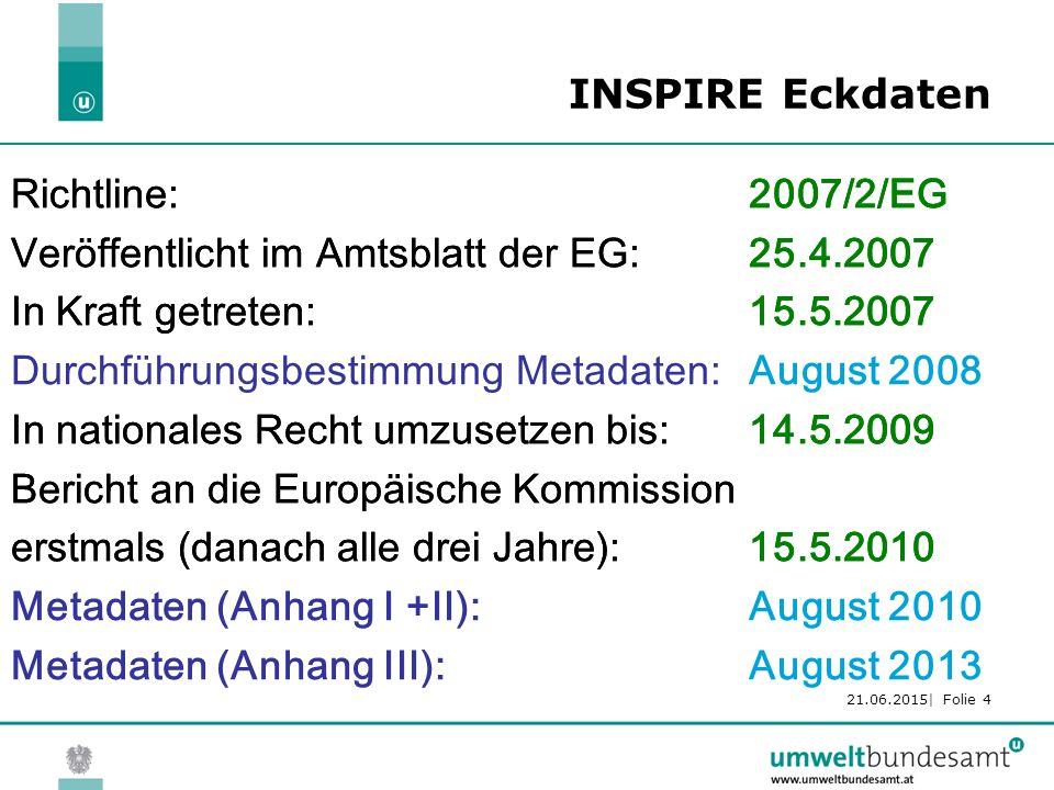 21.06.2015| Folie 4 INSPIRE Eckdaten Richtline: 2007/2/EG Veröffentlicht im Amtsblatt der EG: 25.4.2007 In Kraft getreten: 15.5.2007 Durchführungsbestimmung Metadaten:Juli 2008 In nationales Recht umzusetzen bis: 14.5.2009 Bericht an die Europäische Kommission erstmals (danach alle drei Jahre):15.5.2010 Metadaten (Anhang I +II):Juli 2010 Metadaten (Anhang III):Juli 2013 Richtline: 2007/2/EG Veröffentlicht im Amtsblatt der EG: 25.4.2007 In Kraft getreten: 15.5.2007 Durchführungsbestimmung Metadaten:August 2008 In nationales Recht umzusetzen bis: 14.5.2009 Bericht an die Europäische Kommission erstmals (danach alle drei Jahre):15.5.2010 Metadaten (Anhang I +II):August 2010 Metadaten (Anhang III):August 2013
