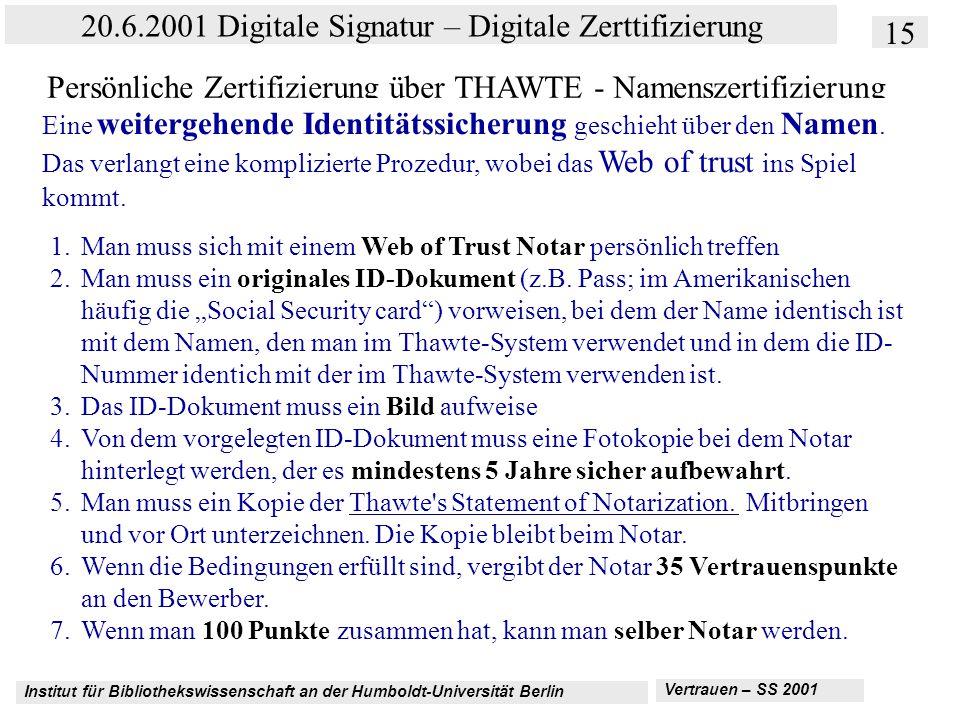 Institut für Bibliothekswissenschaft an der Humboldt-Universität Berlin 15 20.6.2001 Digitale Signatur – Digitale Zerttifizierung Vertrauen – SS 2001 Persönliche Zertifizierung über THAWTE - Namenszertifizierung 1.Man muss sich mit einem Web of Trust Notar persönlich treffen 2.Man muss ein originales ID-Dokument (z.B.