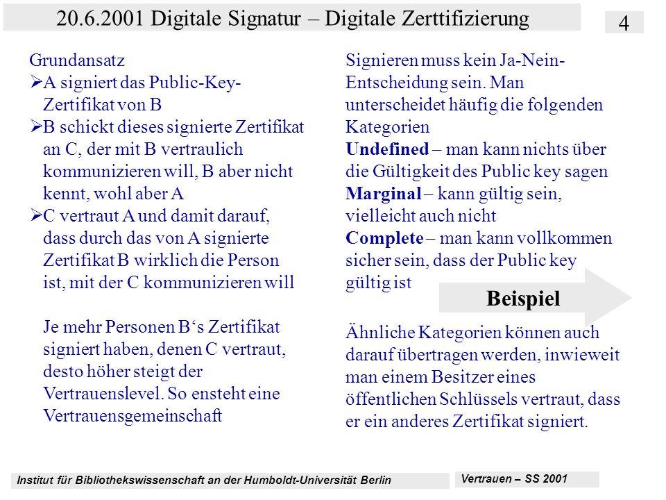 Institut für Bibliothekswissenschaft an der Humboldt-Universität Berlin 4 20.6.2001 Digitale Signatur – Digitale Zerttifizierung Vertrauen – SS 2001 PGP Trust Modell Grundansatz  A signiert das Public-Key- Zertifikat von B  B schickt dieses signierte Zertifikat an C, der mit B vertraulich kommunizieren will, B aber nicht kennt, wohl aber A  C vertraut A und damit darauf, dass durch das von A signierte Zertifikat B wirklich die Person ist, mit der C kommunizieren will Je mehr Personen B's Zertifikat signiert haben, denen C vertraut, desto höher steigt der Vertrauenslevel.