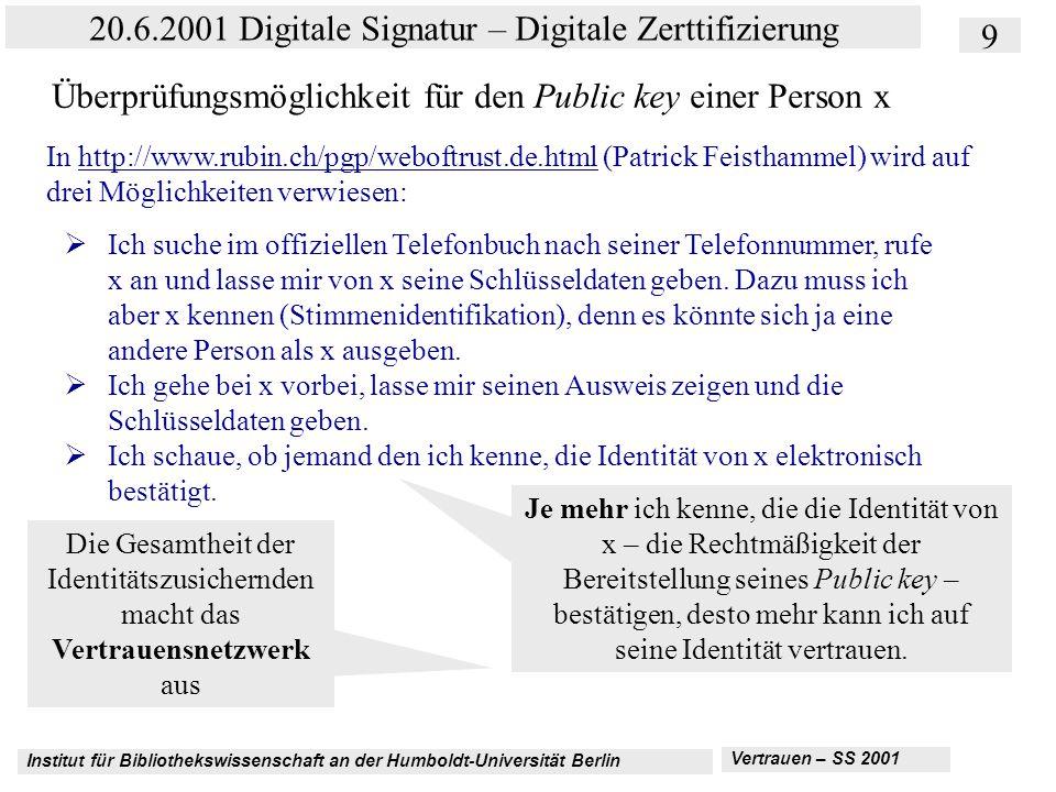 Institut für Bibliothekswissenschaft an der Humboldt-Universität Berlin 9 20.6.2001 Digitale Signatur – Digitale Zerttifizierung Vertrauen – SS 2001 Überprüfungsmöglichkeit für den Public key einer Person x In http://www.rubin.ch/pgp/weboftrust.de.html (Patrick Feisthammel) wird auf drei Möglichkeiten verwiesen:http://www.rubin.ch/pgp/weboftrust.de.html  Ich suche im offiziellen Telefonbuch nach seiner Telefonnummer, rufe x an und lasse mir von x seine Schlüsseldaten geben.