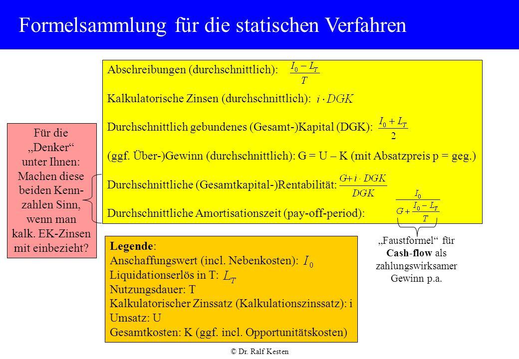 © Dr.Ralf Kesten Formelsammlung für die statischen Verfahren Legende: Anschaffungswert (incl.
