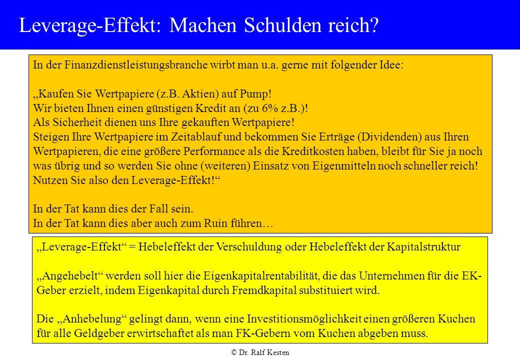 © Dr.Ralf Kesten Leverage-Effekt: Machen Schulden reich.