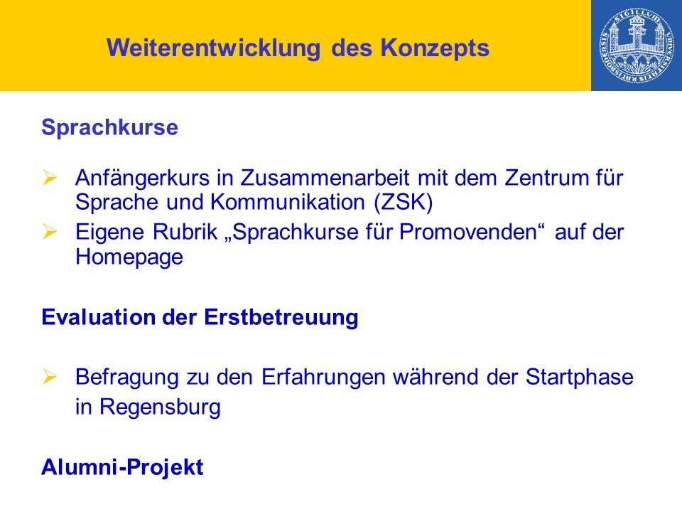 """Weiterentwicklung des Konzepts Sprachkurse  Anfängerkurs in Zusammenarbeit mit dem Zentrum für Sprache und Kommunikation (ZSK)  Eigene Rubrik """"Sprachkurse für Promovenden auf der Homepage Evaluation der Erstbetreuung  Befragung zu den Erfahrungen während der Startphase in Regensburg Alumni-Projekt"""