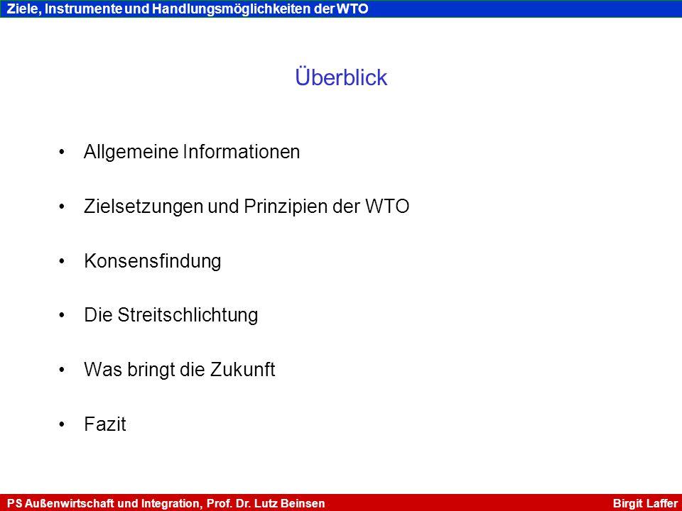 Vom GATT zur WTO Ursprünglich geplant: ITO (International Trade Organisation) nach 2.