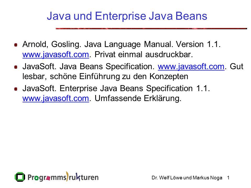 Dr. Welf Löwe und Markus Noga1 Java und Enterprise Java Beans Arnold, Gosling.