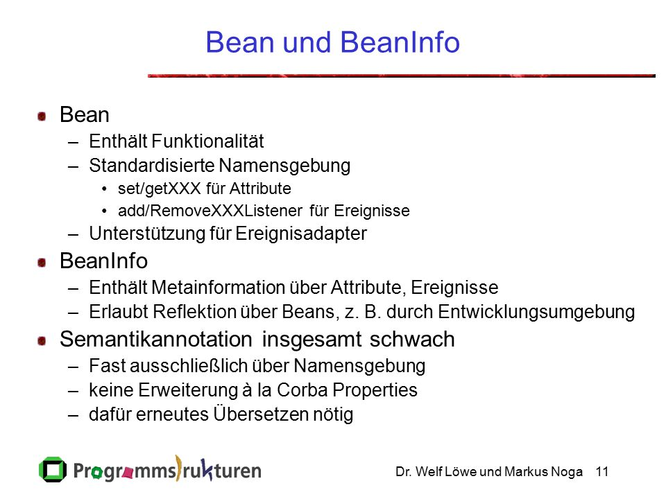 Dr. Welf Löwe und Markus Noga11 Bean und BeanInfo Bean –Enthält Funktionalität –Standardisierte Namensgebung set/getXXX für Attribute add/RemoveXXXLis