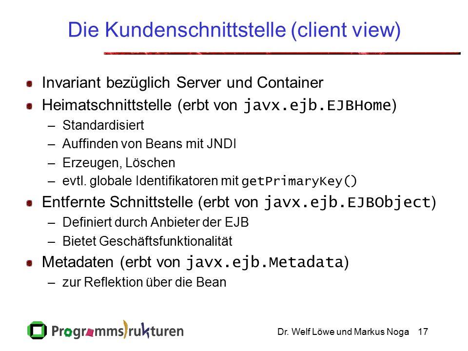 Dr. Welf Löwe und Markus Noga17 Die Kundenschnittstelle (client view) Invariant bezüglich Server und Container Heimatschnittstelle (erbt von javx.ejb.