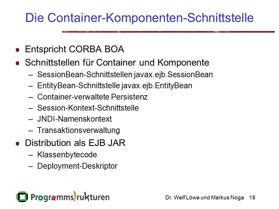 Dr. Welf Löwe und Markus Noga18 Die Container-Komponenten-Schnittstelle Entspricht CORBA BOA Schnittstellen für Container und Komponente –SessionBean-
