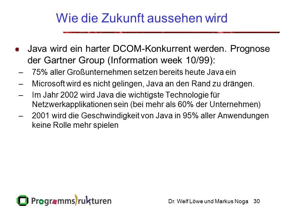 Dr. Welf Löwe und Markus Noga30 Wie die Zukunft aussehen wird Java wird ein harter DCOM-Konkurrent werden. Prognose der Gartner Group (Information wee