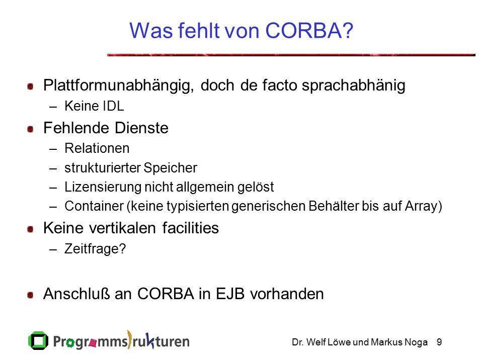 Dr. Welf Löwe und Markus Noga9 Was fehlt von CORBA.