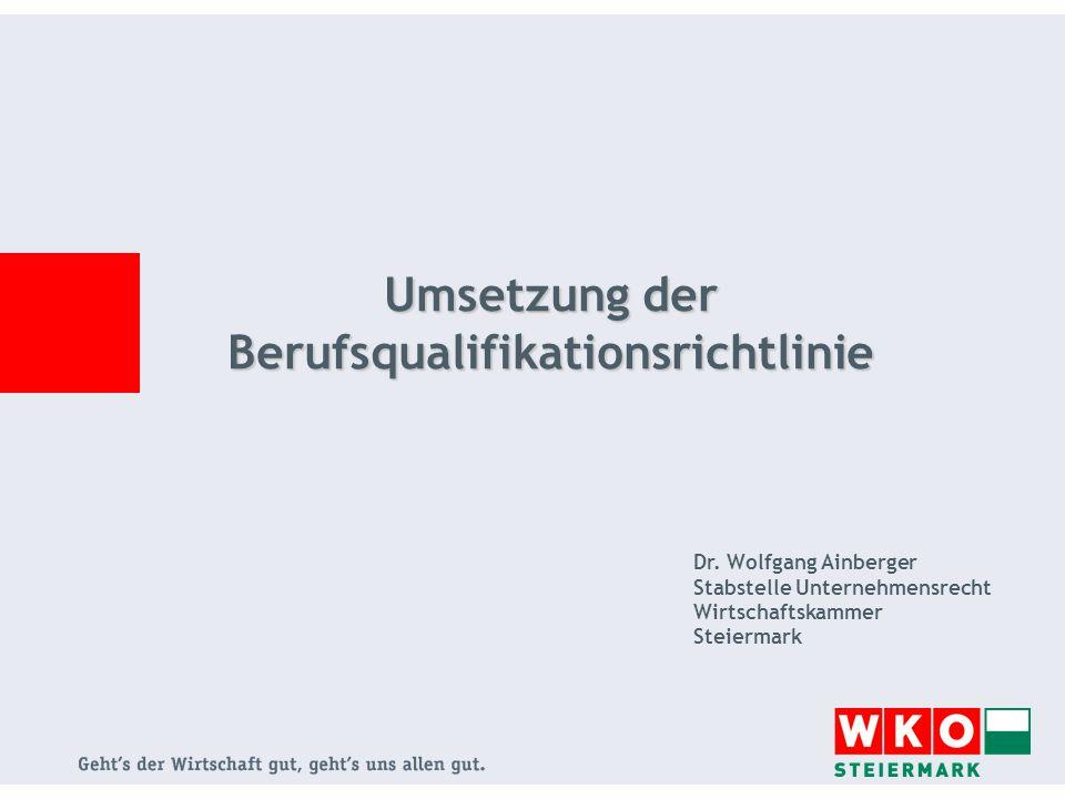 2 Umsetzung der Berufsqualifikationsrichtlinie RL 2005/36/EG VI Hauptstück der Gewerbeordnung 1994 EWR- Anpassungsbestimmungen (§ 373a-373h GewO 1994) Vorübergehende grenzüberschreitende Dienstleistung im Rahmen der Dienstleistungsfreiheit Niederlassungsfreiheit