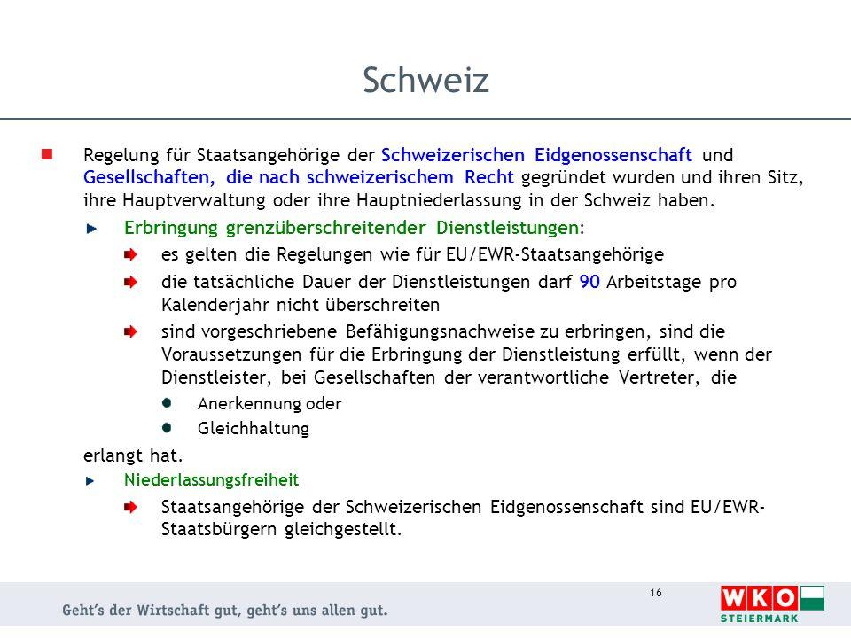16 Schweiz Regelung für Staatsangehörige der Schweizerischen Eidgenossenschaft und Gesellschaften, die nach schweizerischem Recht gegründet wurden und