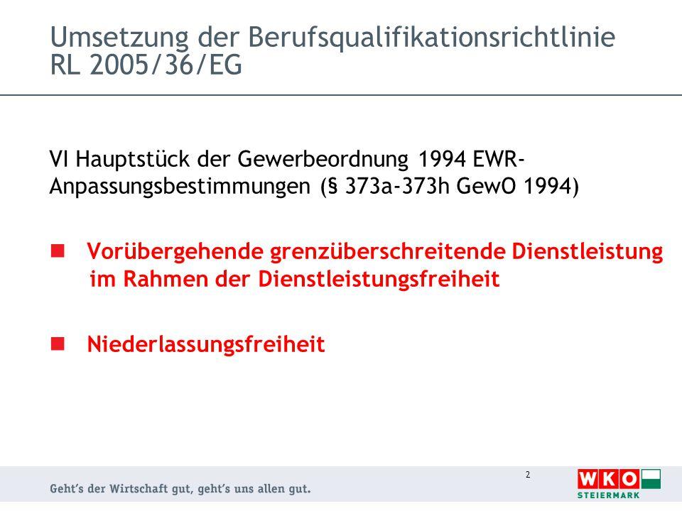 2 Umsetzung der Berufsqualifikationsrichtlinie RL 2005/36/EG VI Hauptstück der Gewerbeordnung 1994 EWR- Anpassungsbestimmungen (§ 373a-373h GewO 1994)