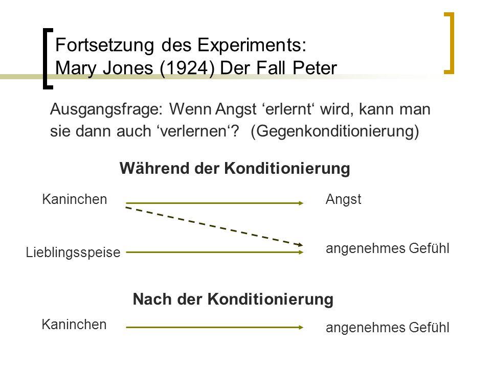 Fortsetzung des Experiments: Mary Jones (1924) Der Fall Peter angenehmes Gefühl Während der Konditionierung Nach der Konditionierung angenehmes Gefühl Kaninchen Ausgangsfrage: Wenn Angst 'erlernt' wird, kann man sie dann auch 'verlernen'.