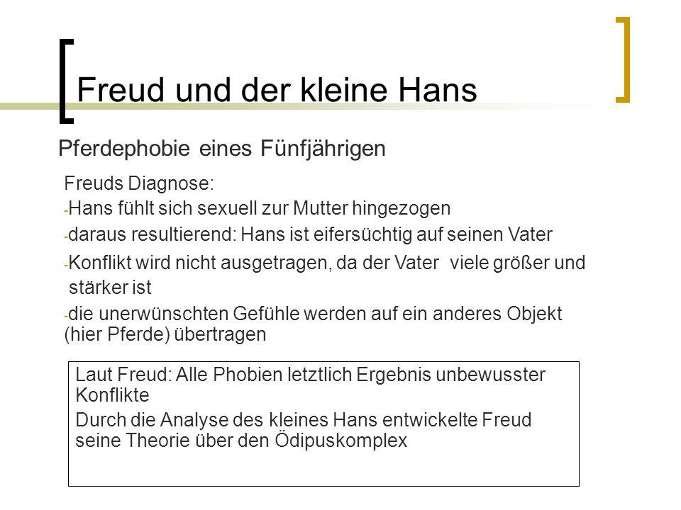 Freud und der kleine Hans Pferdephobie eines Fünfjährigen Freuds Diagnose: - Hans fühlt sich sexuell zur Mutter hingezogen - daraus resultierend: Hans ist eifersüchtig auf seinen Vater - Konflikt wird nicht ausgetragen, da der Vater viele größer und stärker ist - die unerwünschten Gefühle werden auf ein anderes Objekt (hier Pferde) übertragen Laut Freud: Alle Phobien letztlich Ergebnis unbewusster Konflikte Durch die Analyse des kleines Hans entwickelte Freud seine Theorie über den Ödipuskomplex