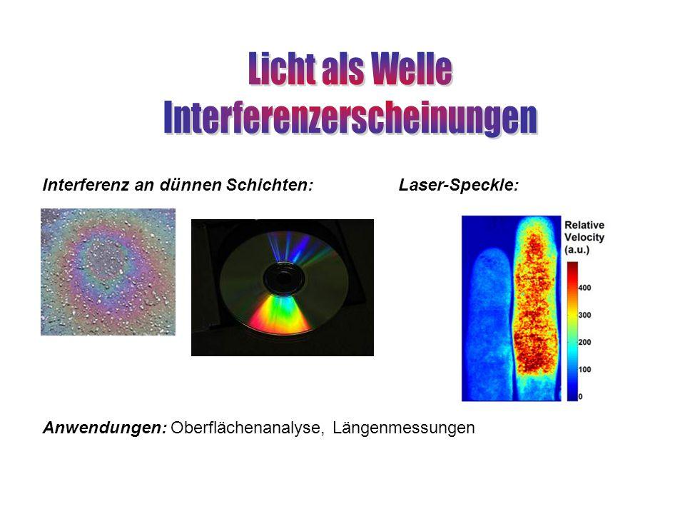 Interferenz an dünnen Schichten:Laser-Speckle: Anwendungen: Oberflächenanalyse, Längenmessungen