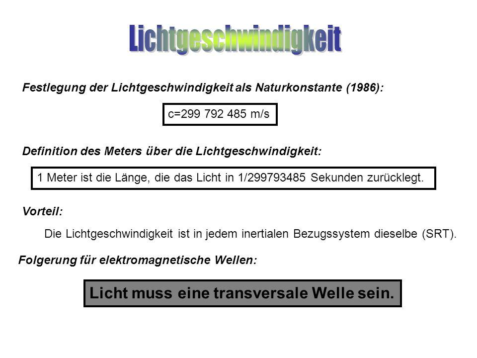 Festlegung der Lichtgeschwindigkeit als Naturkonstante (1986): Licht muss eine transversale Welle sein. c=299 792 485 m/s Definition des Meters über d