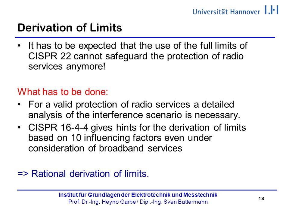 13 Institut für Grundlagen der Elektrotechnik und Messtechnik Prof. Dr.-Ing. Heyno Garbe / Dipl.-Ing. Sven Battermann Derivation of Limits It has to b