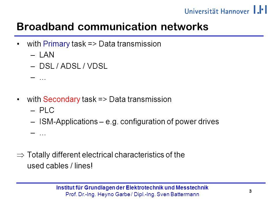 3 Institut für Grundlagen der Elektrotechnik und Messtechnik Prof. Dr.-Ing. Heyno Garbe / Dipl.-Ing. Sven Battermann Broadband communication networks