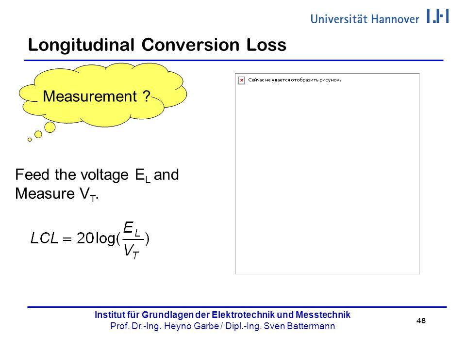 48 Institut für Grundlagen der Elektrotechnik und Messtechnik Prof. Dr.-Ing. Heyno Garbe / Dipl.-Ing. Sven Battermann Longitudinal Conversion Loss Fee
