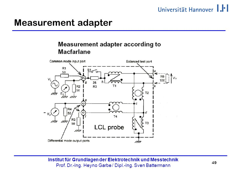 49 Institut für Grundlagen der Elektrotechnik und Messtechnik Prof. Dr.-Ing. Heyno Garbe / Dipl.-Ing. Sven Battermann Measurement adapter