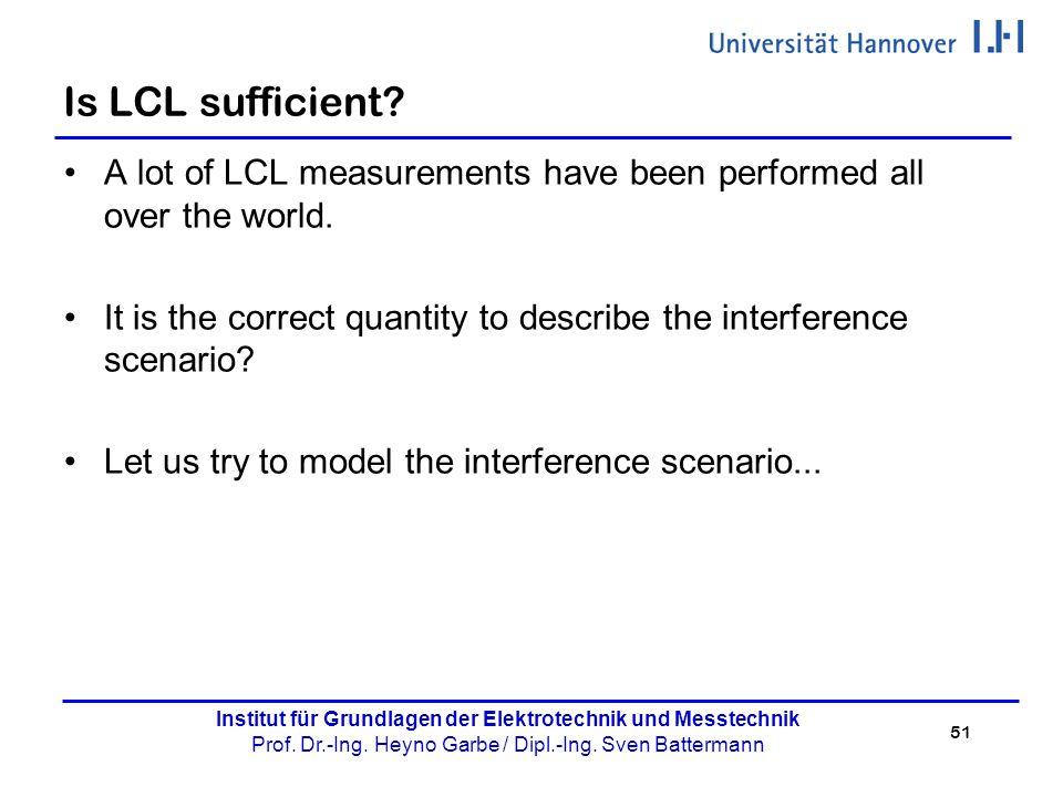 51 Institut für Grundlagen der Elektrotechnik und Messtechnik Prof. Dr.-Ing. Heyno Garbe / Dipl.-Ing. Sven Battermann Is LCL sufficient? A lot of LCL