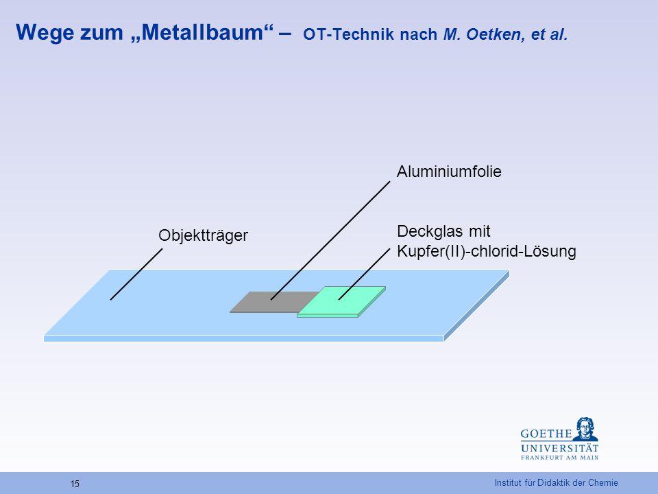 """Institut für Didaktik der Chemie 15 Wege zum """"Metallbaum"""" – OT-Technik nach M. Oetken, et al. Aluminiumfolie Deckglas mit Kupfer(II)-chlorid-Lösung Ob"""