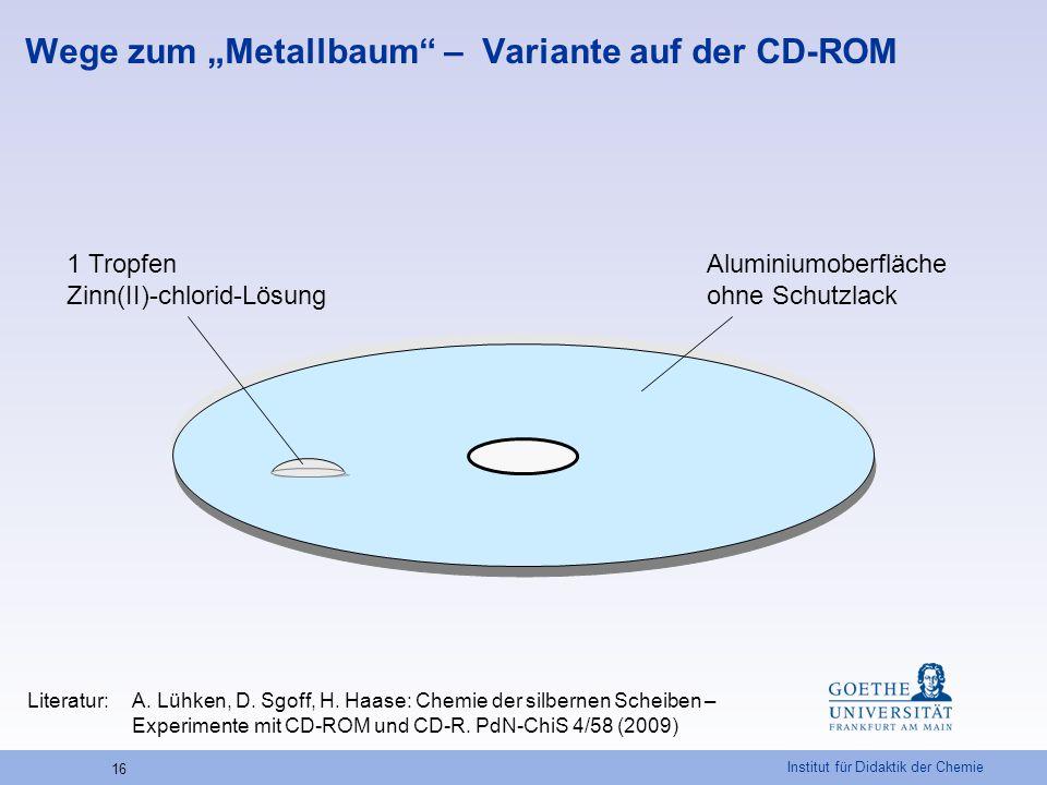 """Institut für Didaktik der Chemie 16 Wege zum """"Metallbaum"""" – Variante auf der CD-ROM Aluminiumoberfläche ohne Schutzlack 1 Tropfen Zinn(II)-chlorid-Lös"""