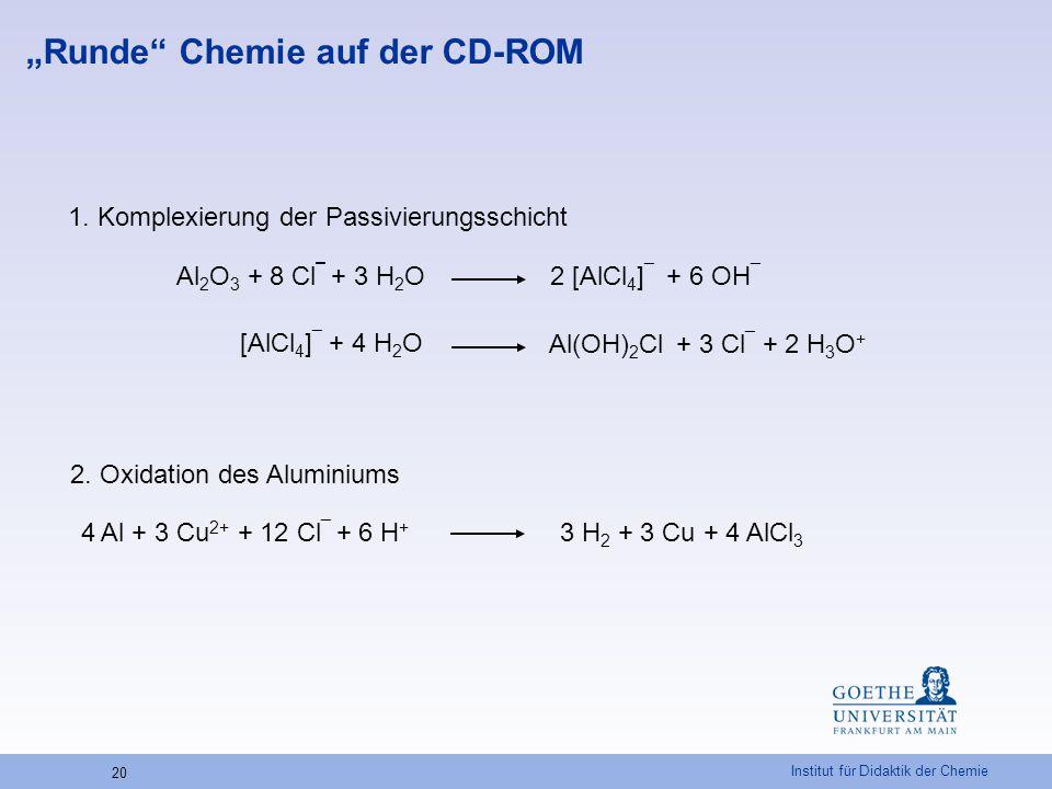 Institut für Didaktik der Chemie 20 Al 2 O 3 + 8 Cl ¯ + 3 H 2 O 2 [AlCl 4 ] ¯ + 6 OH ¯ 1. Komplexierung der Passivierungsschicht 3 H 2 + 3 Cu + 4 AlCl