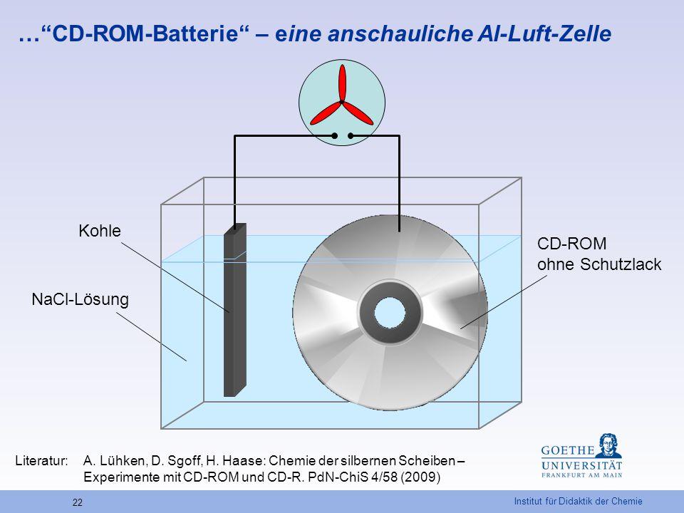 """Institut für Didaktik der Chemie 22 …""""CD-ROM-Batterie"""" – eine anschauliche Al-Luft-Zelle CD-ROM ohne Schutzlack Kohle NaCl-Lösung Literatur: A. Lühken"""