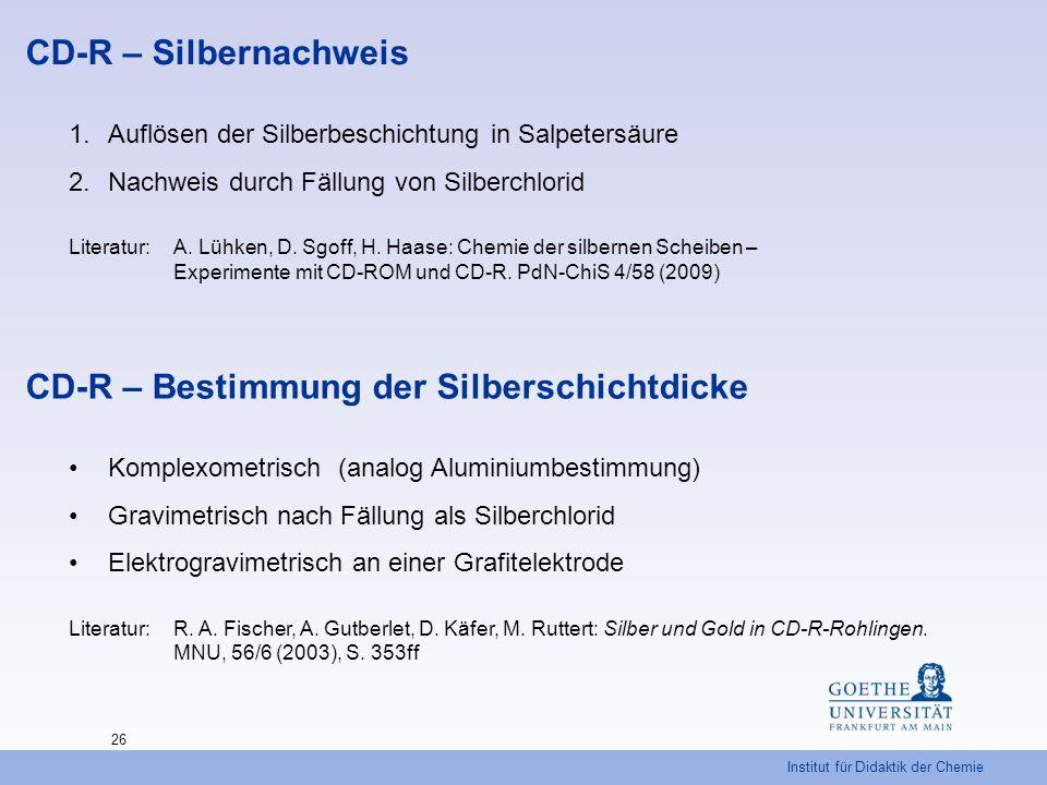 Institut für Didaktik der Chemie 26 CD-R – Silbernachweis 1.Auflösen der Silberbeschichtung in Salpetersäure 2.Nachweis durch Fällung von Silberchlori