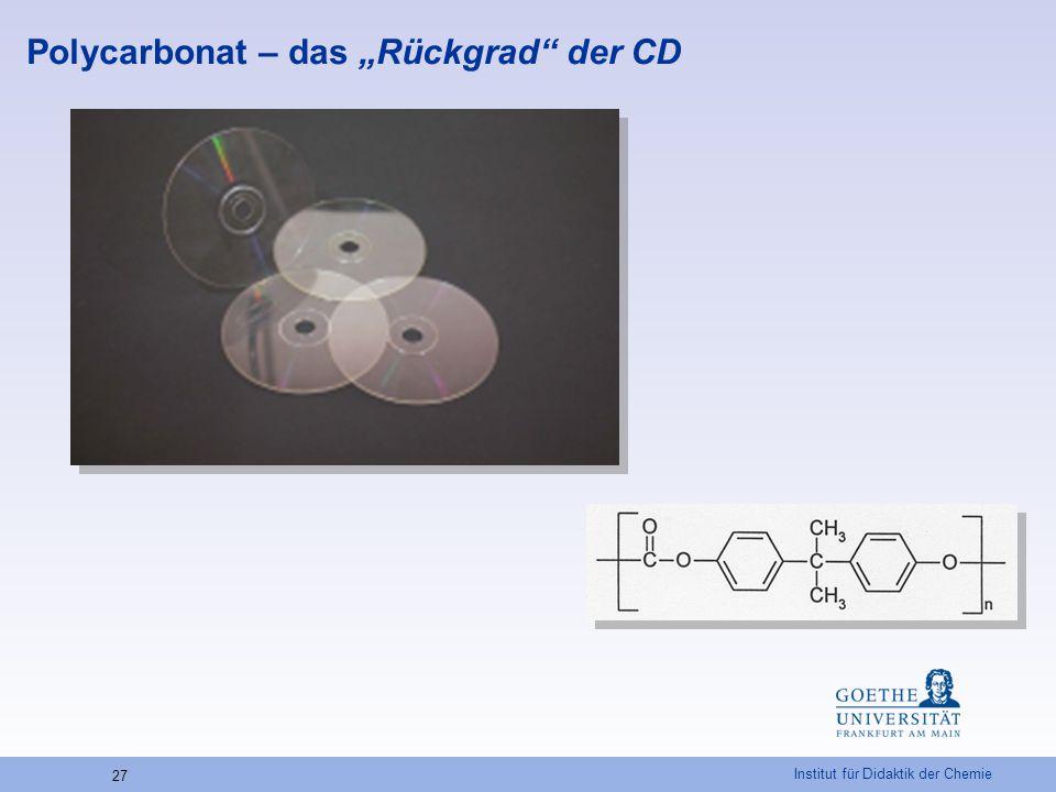 """Institut für Didaktik der Chemie 27 Polycarbonat – das """"Rückgrad"""" der CD"""