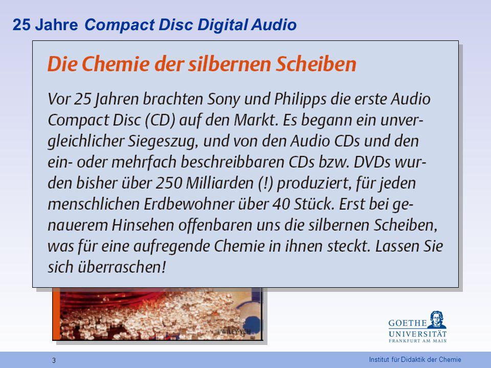 Institut für Didaktik der Chemie 14 Schichtdicke des Aluminiums auf einer CD-ROM – Beispielrechnung Außenradius der Aluminiumbeschichtungr a = 5,9[cm] Innenradius bis zur Aluminiumbeschichtungr i = 1,8[cm] Fläche der Aluminiumbeschichtung A = 5,9 2   - 1,8 2   = 99,1 [cm 2 ] Vorlage an EDTA-Lösungv EDTA = 10,0[ml] Verbrauch an Zinksulfat-Lösungv Z = 2,6[ml] Verbrauch an EDTA-Lösung (berechnet)v = v EDTA - v Z = 7,4[ml] 1 ml EDTA-Lösung entspricht 0,2698 mg Aluminium Dichte Aluminium p = 2,7 g/cm 3 Masse des Aluminiums m = 7,4  0,2698 = 2,00 m = 0,002 [mg] [g] Volumen AluminiumV = 0,002 / 2,7 = 0,00074[cm 3 ] Schichtdicke der Aluminiumbeschichtungd = 0,00074 / 99,1 = 0,00000747 d = 74,7 [cm] [nm] Literatur: A.