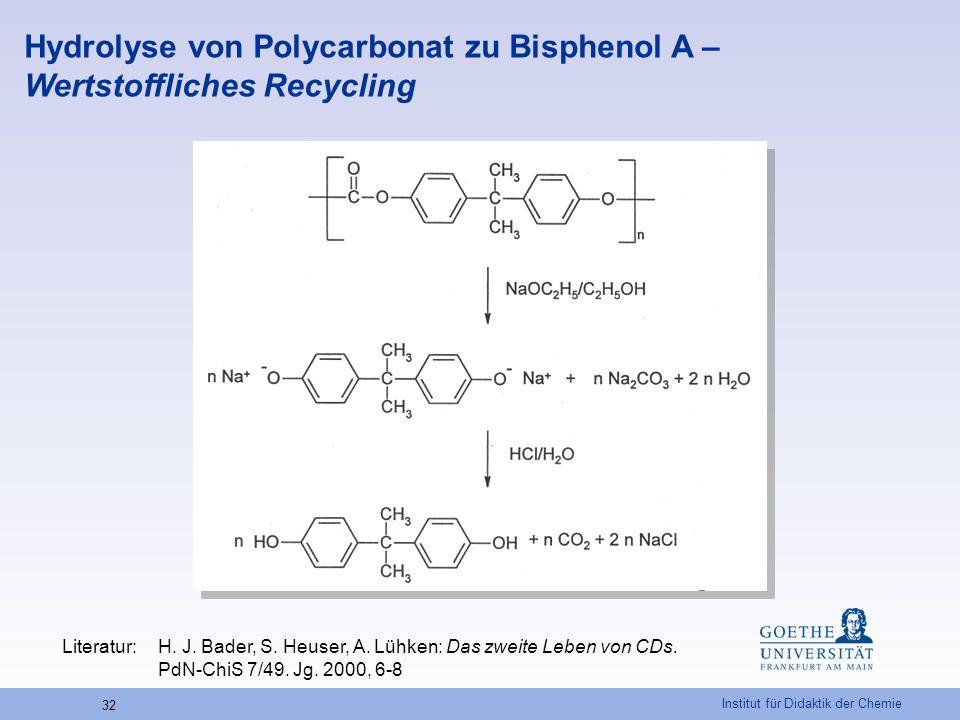 Institut für Didaktik der Chemie 32 Hydrolyse von Polycarbonat zu Bisphenol A – Wertstoffliches Recycling Literatur:H. J. Bader, S. Heuser, A. Lühken: