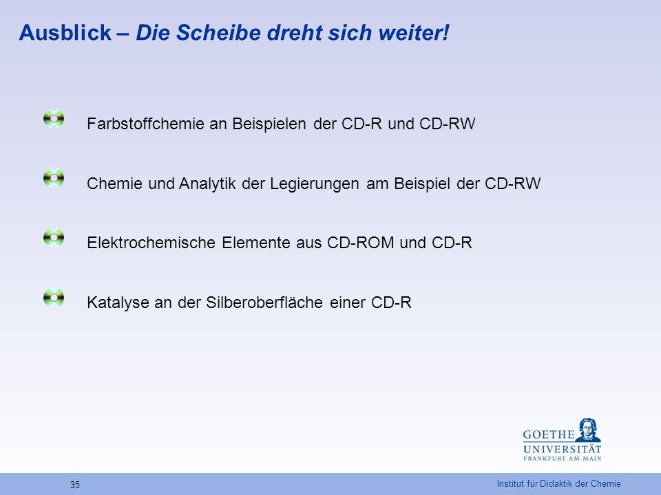 Institut für Didaktik der Chemie 35 Ausblick – Die Scheibe dreht sich weiter! Farbstoffchemie an Beispielen der CD-R und CD-RW Chemie und Analytik der