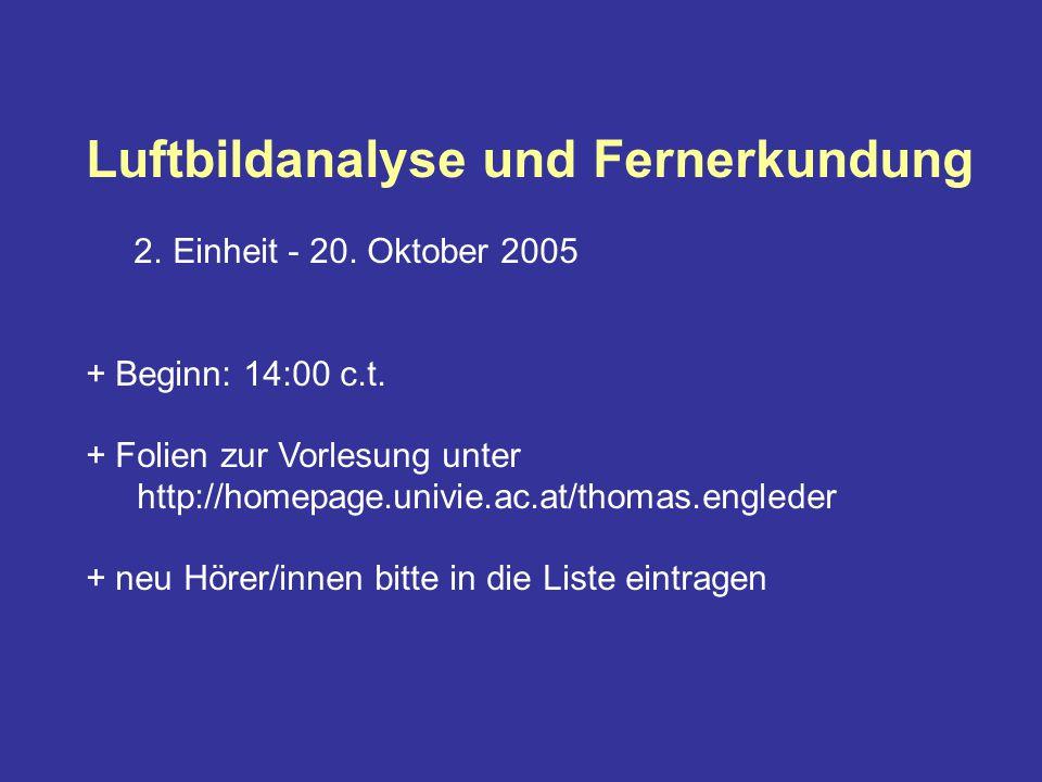 Luftbildanalyse und Fernerkundung 2. Einheit - 20.