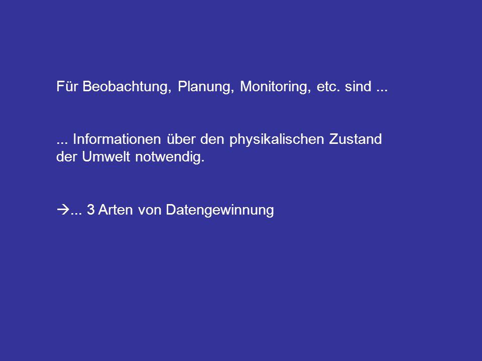 Für Beobachtung, Planung, Monitoring, etc. sind......