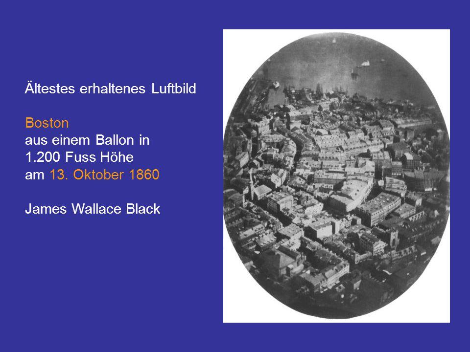 Ältestes erhaltenes Luftbild Boston aus einem Ballon in 1.200 Fuss Höhe am 13.