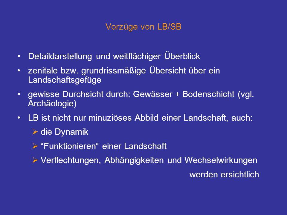 Vorzüge von LB/SB Detaildarstellung und weitflächiger Überblick zenitale bzw.