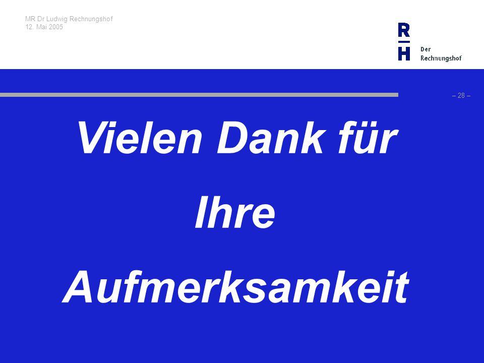 MR Dr Ludwig Rechnungshof 12. Mai 2005 – 28 – Vielen Dank für Ihre Aufmerksamkeit