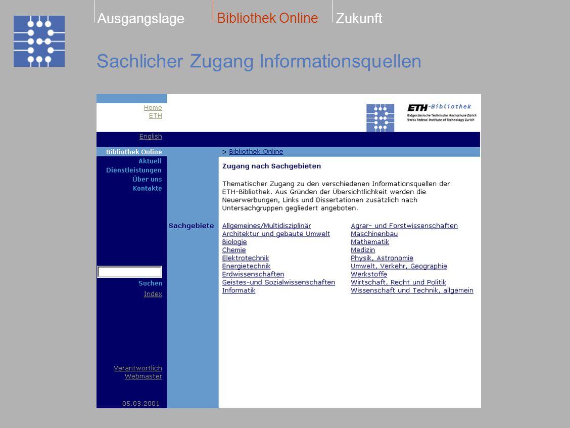 Sachlicher Zugang Informationsquellen Bibliothek Online ZukunftAusgangslage