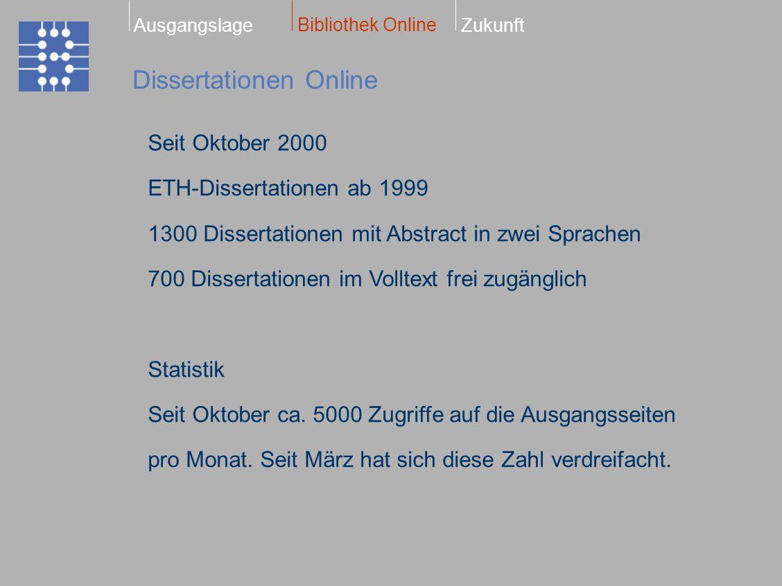Dissertationen Online Bibliothek Online ZukunftAusgangslage Seit Oktober 2000 ETH-Dissertationen ab 1999 1300 Dissertationen mit Abstract in zwei Spra