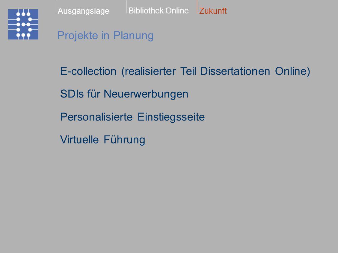Projekte in Planung Bibliothek Online ZukunftAusgangslage E-collection (realisierter Teil Dissertationen Online) SDIs für Neuerwerbungen Personalisierte Einstiegsseite Virtuelle Führung